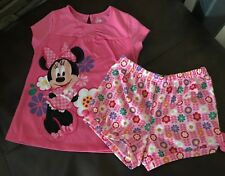 UC! Girl's DISNEY store shorts pajama set  MINNIE MOUSE 7/8 pink floral