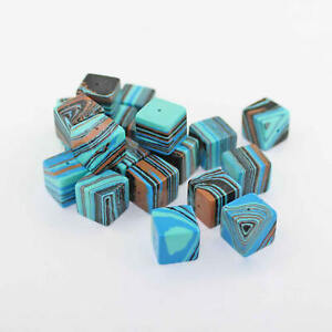 8 Faux Turquoise Beads Cube Shape 12mm Gorgeous Earth Tone Marble - BD036