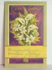 PostCard Easter Greetings Floral Fancy Bouquet Posted Stamped 3-13-1910 Vintage