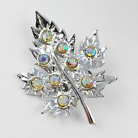 Rhinestone Leaf Brooch Vintage Silver Tone Costume Jewellery Mid Century Pin