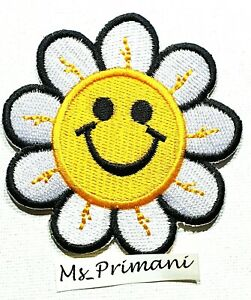 Embroidered Badge Yellow Smiley Face Flower Patch Iron/Sew On Clothes 7.1x7.1CM