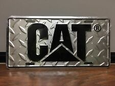 CAT Logo Caterpillar License Plate Tag - Diamond Plate / Black