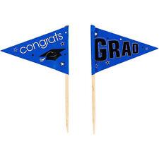 GRADUATION Party CUPCAKE FLAG PICKS  Congrats Grad 12pcs BLUE School Colors