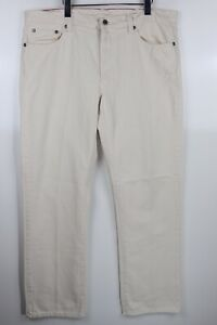 L.L. Bean Standard Fit Men's 36x32 Straight Leg Ecru Denim Cotton Casual Jeans