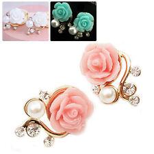1Paar Damen elegante Ohrring Strass Rose Blüte mit Perle Ohrstecker Ohrschmuck