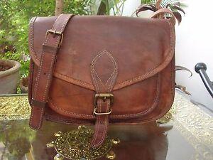 "9""Indian Real Genuine Leather Vintage Messenger ladies Shoulder Hippie Tote Bag"