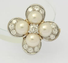 ♦Brosche in aus 750er 18kt Weiß Gelb Gold mit Perlen Diamant Brillant Brillanten