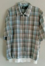 John Blair Fine Mens Wear Casual Shirt Jacket Zip Front Short Sleeve Size Large