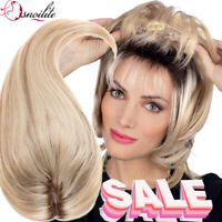 US Hand Tied Topper 100% Human Hair Topper For Women Hairpiece Clip Wig Top LD1