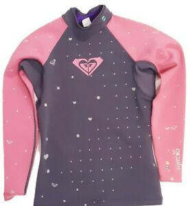 Roxy Syncro 1mm long sleeve wetsuit top size 10 Pink Grey glitter hearts
