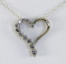 Diamante jornada collar con corazón oro blanco brillante redondo .22C 925 cadena