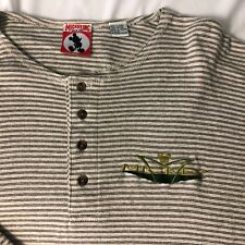VTG MICKEY INC long sleeve henley 4 button L / XL striped embroidered mouse