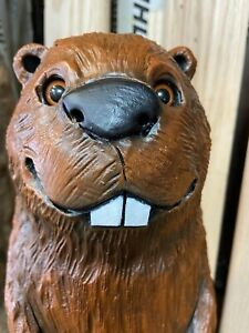 "BEAVER Chainsaw Carving BLACK WALNUT WOODED BEAVER Cabin Decor 20.5"" Tall UNIQUE"