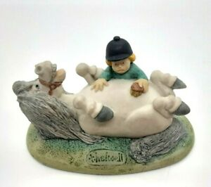 THELWELL Chilton Collection 'Brush Vigously' Pony & Rider 1985 Ceramic Figurine
