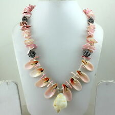 Gemstone Necklace Natural Pearl Shell Gemstone Jewelry Handmade Beaded Jewelry