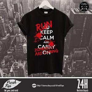 Keep Calm Run Zombies Are Coming T Shirt Walking Dead Halloween Horror Walkers