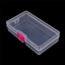 Plastic Clear Storage Box Jewelry Craft Container Organizer Case Pink Buckle UK