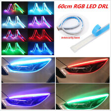 Pair Car SUV Slim RGB Flowing LED DRL Daytime Running Lamps 60cm+Remote Control