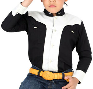 Boys Charro Shirt El General Western Wear Camisa Charra Niño Color Black/White