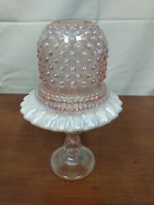 RARE Fenton PINK OPALESCENT Rose Carnival Art Glass 3 Piece Hobnail FAIRY LAMP