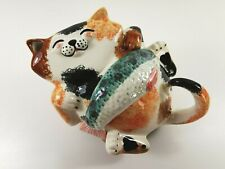 Alexander Ceramics Figural Cat Teapot with Fish Lid, Collectable Animal Pottery