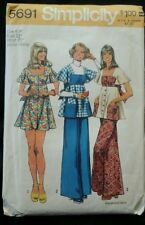 1973 Simplicity 5691 size 9JP Dress, Smock Top & Pants Sewing Pattern