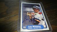 1982 FLEER LOU WHITAKER AUTOGRAPHED BASEBALL CARD