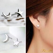 925 Sterling Silver Star & Moon Crescent Stud Earrings Girls Children Women Men