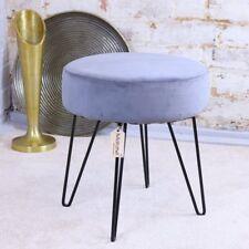 Miani Grey Velvet Stool Wire Leg Footstool Retro Round 36cm x 40cm