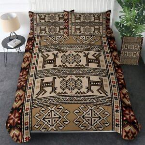 Brown Geometric Aztec Tribal King Queen Twin Quilt Duvet Pillow Cover Bed Set