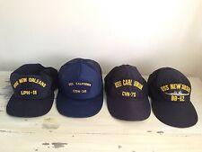 4 US NAVY CAPS - Vtg Hats, USS Carl Vinson, New Orleans, California, Jersey