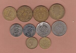 TEN FRENCH AFRICAN COINS 1956 TO 2016 IN GOOD FINE OR BETTER CONDITION