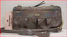 Juicy Couture Designer POSH Zip AROUND Wallet Wristlet Clutch Iridescent PEWTER