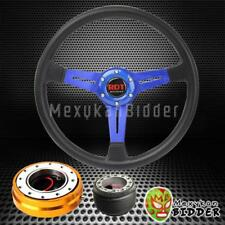 "14"" Black Blue Steering Wheel + Gold Quick Release Hub For Acura Integra 94-01"