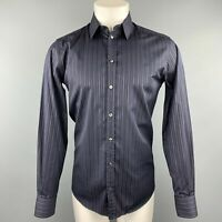 DOLCE & GABBANA Martini Size S Black Stripe Cotton Button Up Long Sleeve Shirt