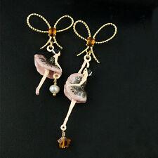 Boucles d`Oreilles Clous Email Noeud Papillon Dancing Girl Email Violet Fin  L6