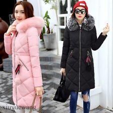 Womens Fur Hooded Cotton Thicken Coats Winter Long Puffer Warm Parka Jacket Size