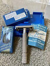 GILLETTE SUPER-SPEED ONE-PIECE RAZOR DOUBLE DUTY DISPENSER SEALED BLUE BLADES