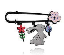 Lol bijoux - Broche lapin gris - Fleurs - pOpup-bijOux