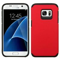 For Samsung Galaxy S7 Heavy Duty Hybrid Armor Rubber Hard Case Cover Red