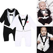 Mode Set Baby Kinder Jungen Smoking Overall Anzug Strampler Kleidung mit Druck