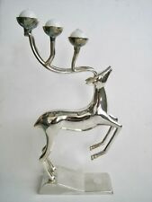 Godinger Silverplate Reindeer Christmas Candle Holder Holiday Candelabra 12""