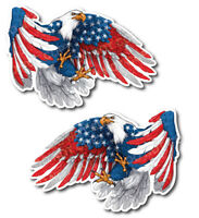 2pk American Flag Bald Eagle USA Decal Sticker Truck Vehicle Window Wall Car