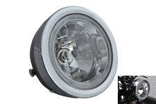 "BLACK 6.5"" 6 1/2"" 12V 35W Project Retro Motorbike Headlight with LED Halo Ring"