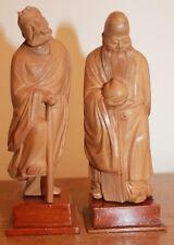Ancienne paire Statuettes Chine sculptée - Bois clair - Divinités chinoises