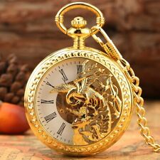 Bronze/Gold Phoenix Men Women Manual Mechanical Pocket Watch Necklace Pendant