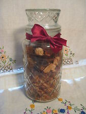 AnchorHocking Clear Diamond Glass Sealed Lidded Jar Mr.Peanut Canister+Potpourri