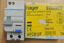 Réf AFC810F DISJONCTEUR DIFFERENTIEL HAGER 1P+N 10A 4.5/6kA 300mA type AC 240V