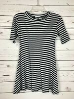LUSH Nordstrom Boutique Gray Navy Striped Tunic Top Tee Blouse Women's M Medium