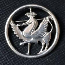 AFK 1969-70 Sheffield Sterling Silver Fire Breathing Crowned Welsh Dragon Brooch